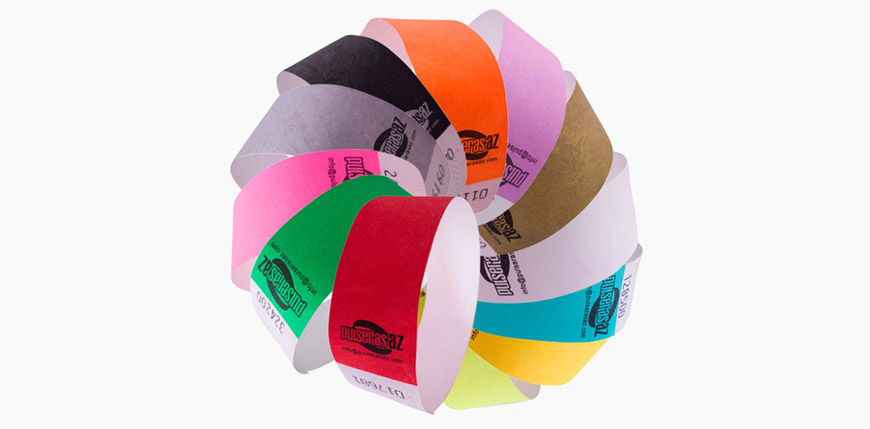 pulseras tyvek diferentes colores